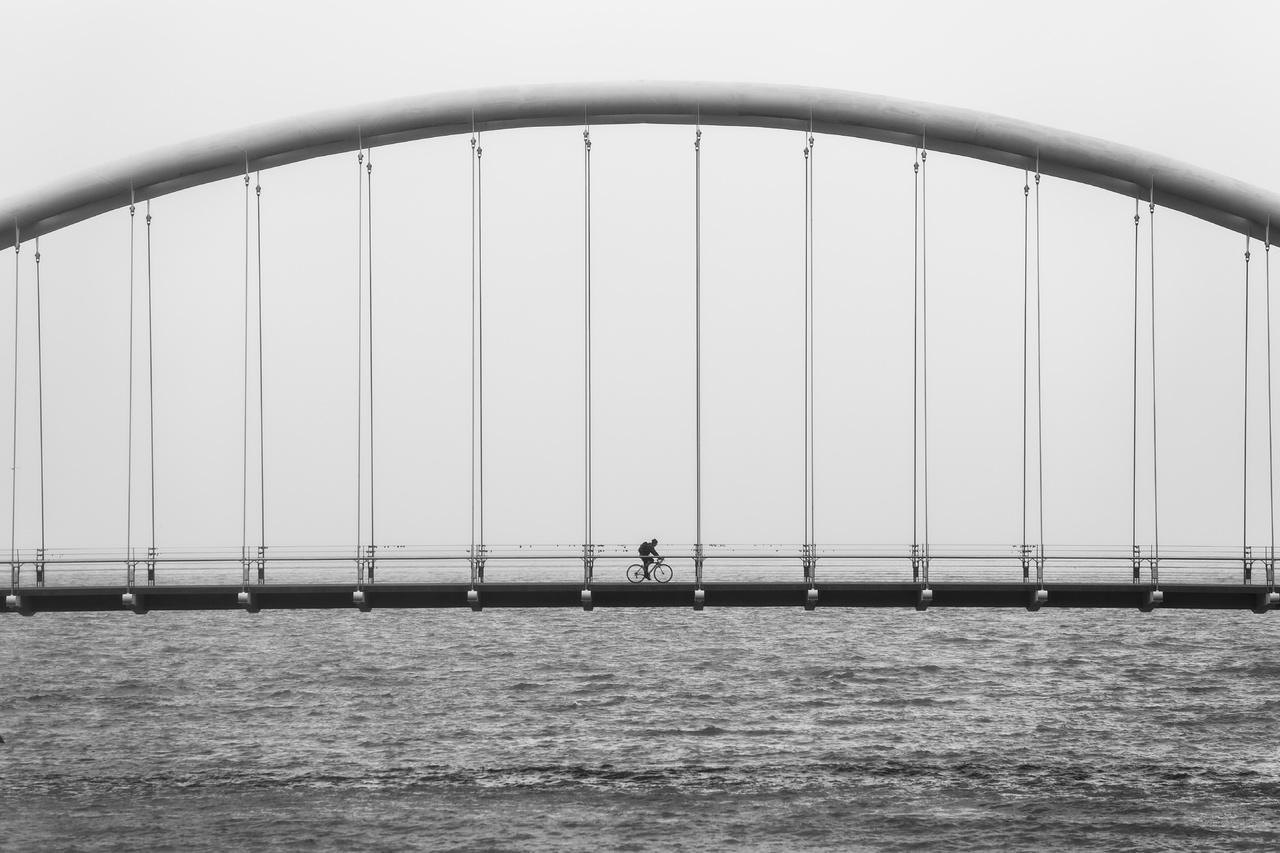 Arc Bridge having suspension in calculated distance
